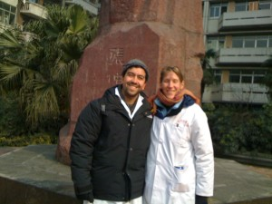 Michele and Andres in Chengdu, China at the Chengdu University of Traditional Chinese Medicine